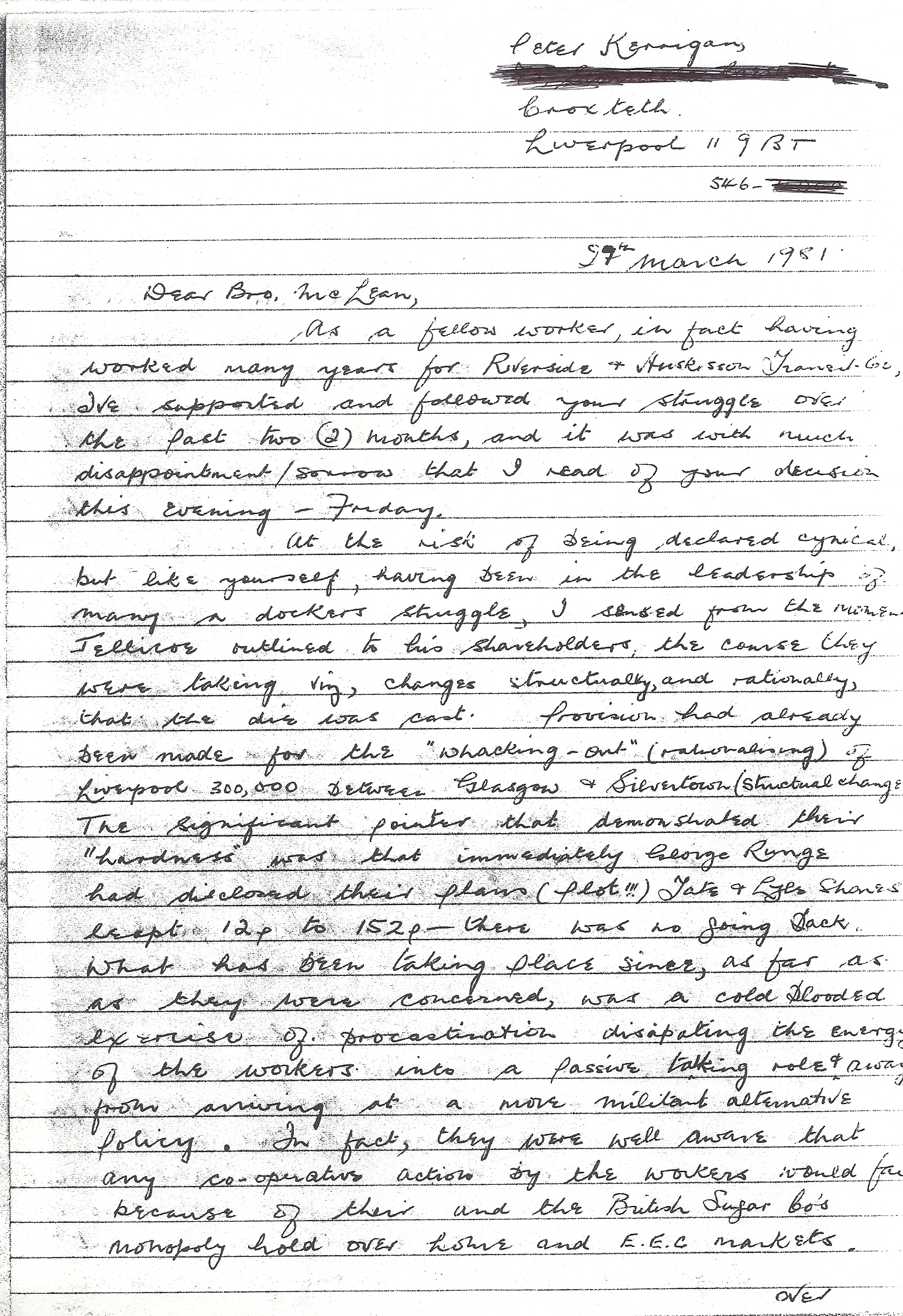 Peter Kerrigan's letter to John